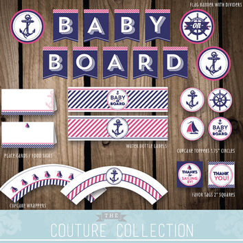 DECOR Package Baby on Board Nautical Preppy Girl Baby Shower Decoration Raspberry Pink and Navy Printable DIY Digital File Instant Download