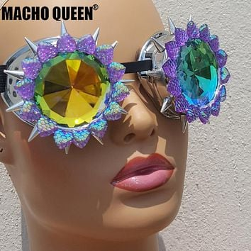 Holographic Steampunk Spike Kaleidoscope Sunglasses