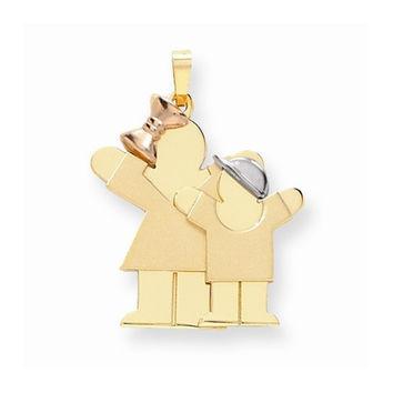 14k Tri-color Big Sister/Little Brother Love Charm