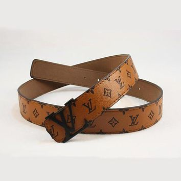 Perfect LV Woman Fashion Smooth Buckle Belt Leather Belt Tagre™