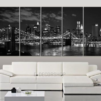 LARGE Wall Art Canvas Art Print New York at Night City Skyline - Wall Art Brooklyn Bridge Canvas Print - Art Canvas Print for Wall Decor-MC92