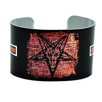 Baphomet Cross and Pentagram Cuff Bracelet Metal Design Jewelry