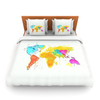 "Oriana Cordero ""World Map"" Rainbow White Lightweight Duvet Cover"