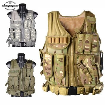 Adjustable Black Tan Green Woodland ACU Camo Hunting Military Molle Style Tactical Vest with Belt & Pistol Holster