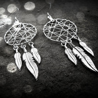 6 feather dream catcher earrings