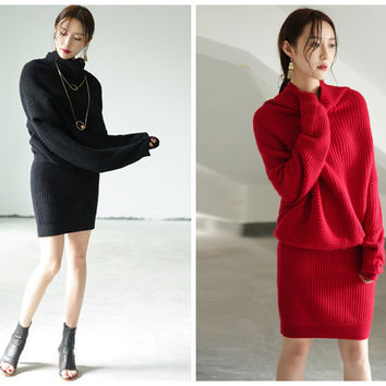 sweater dress,winter dress,oversized sweater dress,long sleeve dress,sweater tunic,asymmetrical dress,black dress,red dress women.--E0750