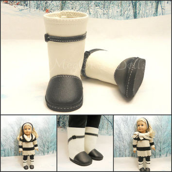 "18"" Doll Boots Two Tones Boots Black Cream"