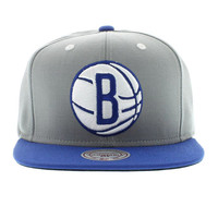 Brooklyn Nets The 2 Tone High Crown SNAPBACK - Gray & Royal By Mitchell And Ness New Era Caps, Snapbacks, Bucket Hats, T-Shirts, Streetwear USA Cranium Fitteds
