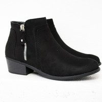 Zip Block Heel Ankle Booties/ Black
