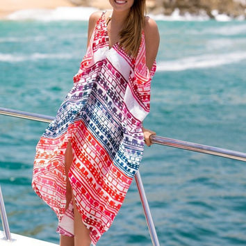 Beach Pattern Chiffon Fashion Beach Dress Maxi Dress = 4807002564