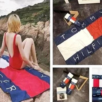 Tommy Hilfiger Fashionable Comfortable Cotton Soft Water Absorption Towel Bath Towel