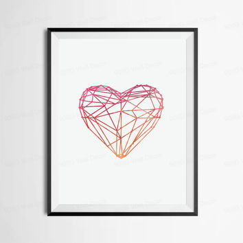 Watercolor Heart Canvas Art Print Poster, Wall Pictures for Home Decoration, Frame not include FA274
