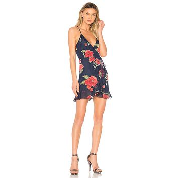 Lovers + Friends Gigi Wrap Dress Navy Floral