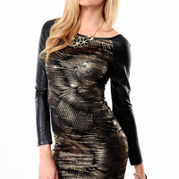 Faux Leather Sleeve Black Gold Body Con Dress