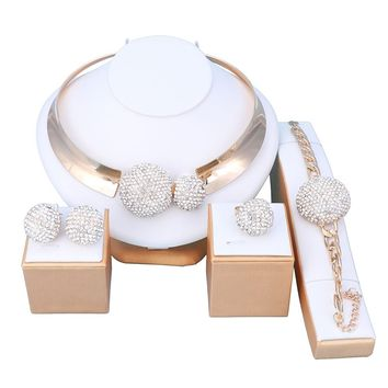 OUHE18K Gold Plated Crystal Jewelry Sets Women Costume Wedding Party Necklace Earrings Bracelet Ring