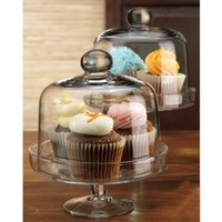 Home Essentials Mini Domed Cake Stands, Set of 2 Clear