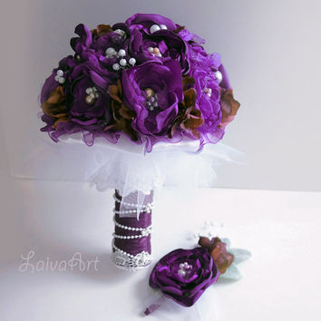 Wedding | Eggplant | Fabric Flower Bouquet | Purple | Violet | Eggplant | Plum | Bridal Flowers | Wedding Boutonniere