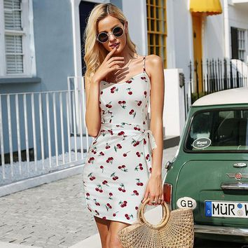Cherry Dress - White