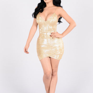 House Party Dress - Gold