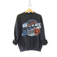20% OFF SALE vintage Chicago bears sweatshirt. faded black sports sweatshirt. 1994
