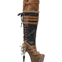 Black Brown thigh high studded steampunk boots spikes and charms from ShoeOodles