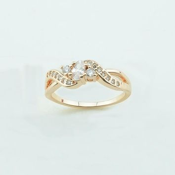 FJ 5mm Width Women White Stone Twisted Style 585 Light Rose Gold Color Rings Size 7 8 9