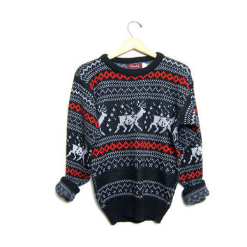 Retro Xmas Reindeer Sweater 80s Christmas Sweater Snowflakes Black Gray Winter Sweater 1980s Holiday Novelty Vintage Medium Small