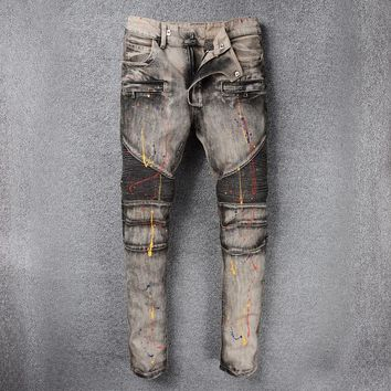 Weathered Slim Men Denim Pants Jeans [748306366557]