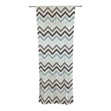 "Heidi Jennings ""Blue Chevron"" Gray Aqua Decorative Sheer Curtain"
