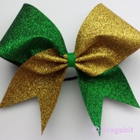 Two color glitter bow. Green and gold glitter cheer bow