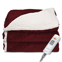 Sunbeam Reversible Sherpa/Mink Heated Throw Garnet TRT8WR-R310-25A00