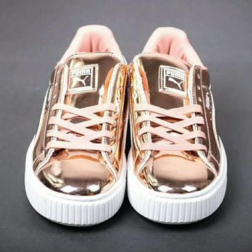 Puma Rihanna Mirror surface Creeper Comfort Stylish Fashion Unisex Shoes Thick Crust Couple Shoes Sports Sneakers Rose Gold