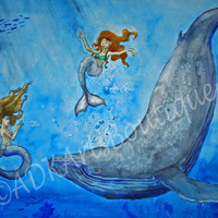 Fantasy Painting, Watercolor Painting,  Art Print, Legends of the Deep