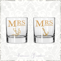 Mrs. + Mrs. Nautical Swallow Anchor Two of a Kind Glassware || Rocks Glass Set