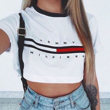 Loose Cotton Letter Print Crop Top