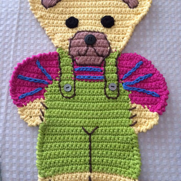 Teddy Bear hand crocheted pot holder embroidered by hand placemat decoration kids bedroom cotton yarn holiday birthday gift Easter woman day