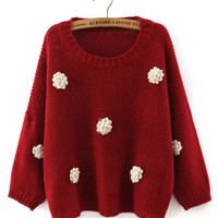 Red Floral Dots Knitted Cropped Sweater - 2/3 Sleeve Length