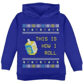 CREYON Hanukkah This is How I Roll Dreidel Ugly Christmas Sweater Toddler Hoodie