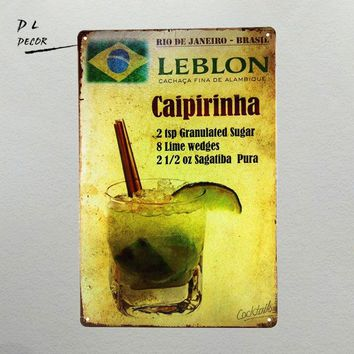 DL- Caipirinha cocktail METAL TIN SIGN Vintage Wall Pub Bar Metal Decor man cave outdoor wall plaques