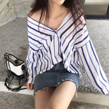 Korean summer tops women's Harajuku leisure oversize blouse ins super fire shirt stripes V-neck  Vadim Plus Size clohes Blusas