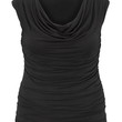 the plus size sleeveless drape neck top in black