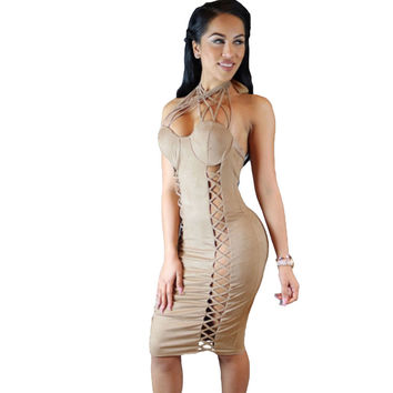 Nude Suede Lace Up Cross Front Halter Dress