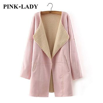 Women Faux Suede Lambswool Lined Jackets Trench Coats Female Long Leather Fur Overcoat Warm Outerwear Fall Winter 2015 Fashion