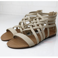 Left In The Dust Beige Strappy Sandals