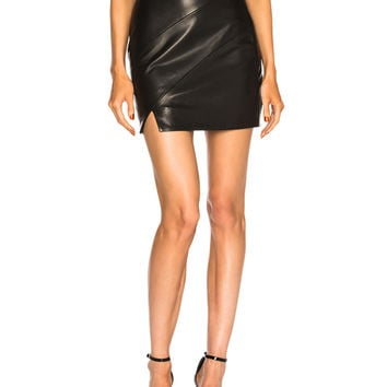 Michelle Mason Leather Corset Skirt in Black | FWRD