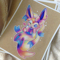 Colorful Sylveon art PRINT