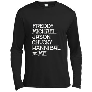 Freddy Michael Jason Chucky Hannibal & Me Halloween  Long Sleeve Moisture Absorbing Shirt