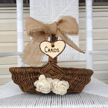 Rustic Wedding Card Basket - Card Basket AND Flower Girl Basket - Shabby Chic Wedding - Wedding Card Holder