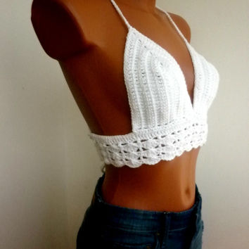 White Summer Festival Top Corset Hippie Bustier Sexy Crochet Bra Halter Top Fringes Crop Top Tank Art Bikini Top Bandeau Top Green Retro 092