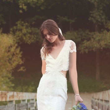 "Bohemian Backless Gown, Cap Sleeves Wedding Dress, Crochet Lace Gown, BOHO Wedding Dress - ""Olsen"""